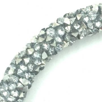 7mm sparkle dust crystal tubing 1 metre - silver